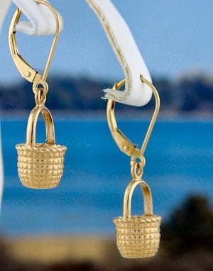 Nantucket Basket Medium Dangle 14k Gold Earrings