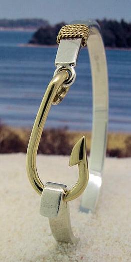 Sterling silver bracelet 14k fish hook the crystal for Cape cod fish bracelet