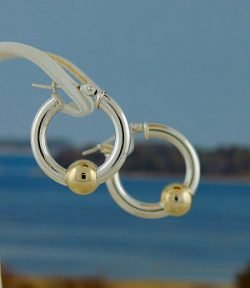 Cape Cod Earrings Two Tone Single Ball