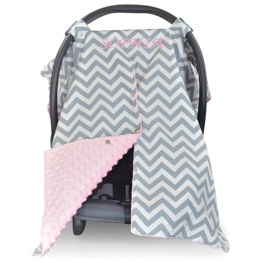 Pink car seat canopy for baby girl  sc 1 st  The Crystal Pineapple & Baby Pink Car Seat Canopy with Grey and White Chevron - The Crystal ...